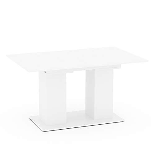 VICCO Esstisch DIX 90 x 140cm - 180 cm Esszimmertisch ausziehbar Küche Tisch (Weiss)