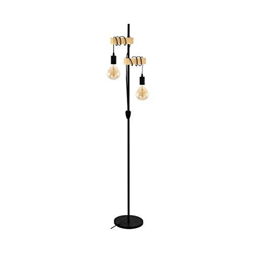 EGLO Stehlampe Townshend, 2 flammige Vintage Stehleuchte im Industrial Design, Retro...