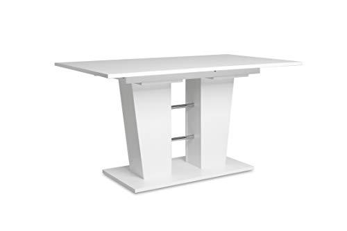 Auszugstisch - Esstisch mit Synchronauszug (B/H/T: 140-180 x 75 x 90 cm) weiß, 22...