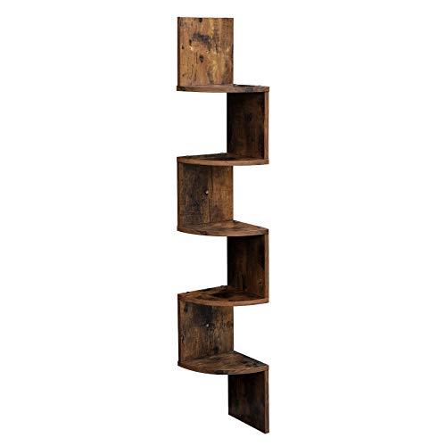 VASAGLE Eckregal mit 5 Ebenen für die Wand, Holzregal, für Küche, Schlafzimmer,...