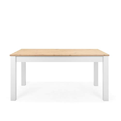Newfurn Esstisch ausziehbar 160-215 cm inkl. Tischplatte Weiß Wildeiche...