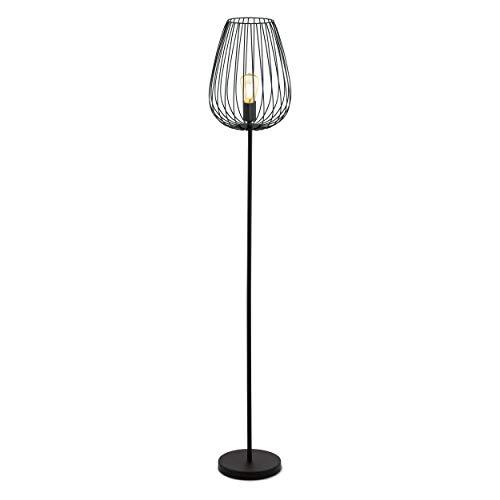 EGLO Stehlampe Newtown, 1 flammige Vintage Standleuchte, Retro Stehleuchte aus Stahl,...