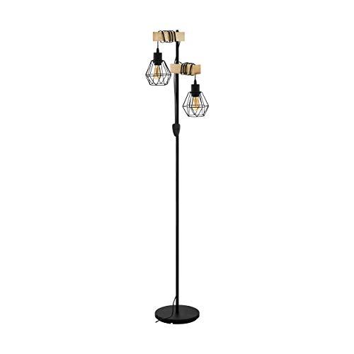 EGLO Stehlampe Townshend 5, 2 flammige Vintage Stehleuchte im Industrial Design,...