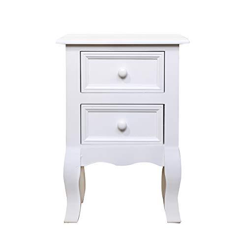 Retro Vintage Nachttisch Weiß Holz Nachtkommode mit 2 Schubladen Beistelltisch...