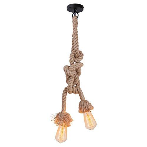 Weinlese-starkes Hanf-Seil-doppelte Kopf-hängende Hanf-Lampen-Seil-hängende Lichter...