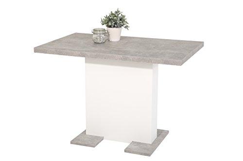 Säulenesstisch Britt, Holzwekstoff Dekor Betonoptik-Weiß, ausziehbar, 110-150x69x76...