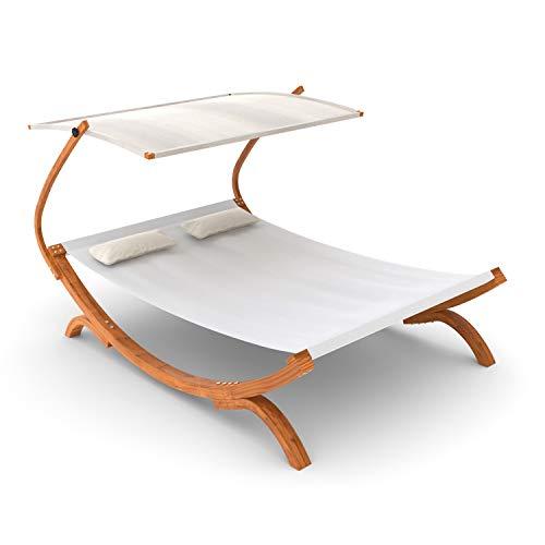 Ampel 24 Doppel-Sonnenliege Panama mit Dach Creme weiß, Gartenliege mit Holzgestell...