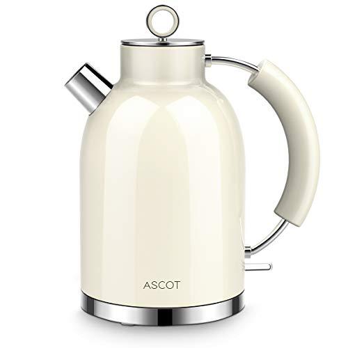 Wasserkocher Edelstahl, ASCOT Elektrischer Wasserkocher, 2200W, 1,6L, Retro Design,...