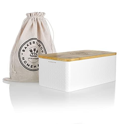 LARS NYSØM Brotkasten I Brotbox aus Metall mit Brotsack aus Leinen für...