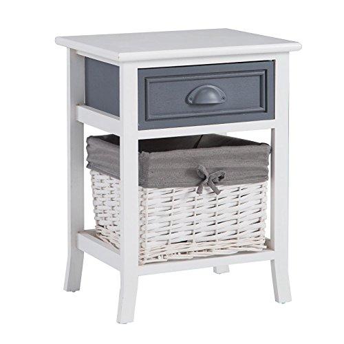 CARO-Möbel Nachttisch Nachtschrank Nachtkommode Florenz in weiß, Shabby Chic...
