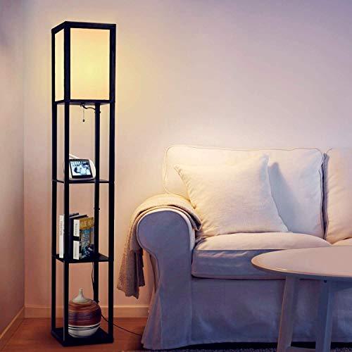 Albrillo Retro Stehlampe mit Holzregal - Design Stehleuchte mit E27 Fassung(Max. 60W...