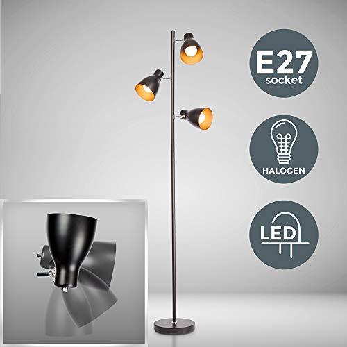 B.K.Licht I schwenkbare Stehlampe I E27 Fassung max 25W I 3-flammig I Retro Metall...