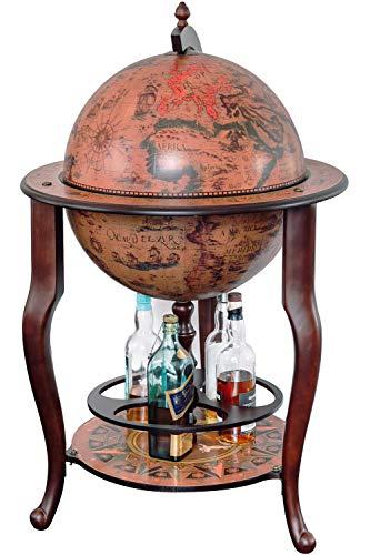 Stilemo Globus bar im Antikdesign - Globusbar in edlem rotbraun - geöffnete Hausbar...