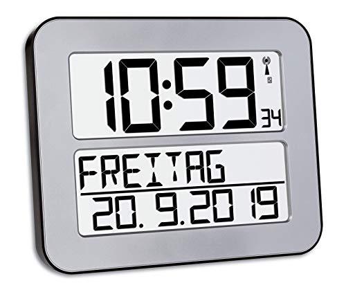 TFA Dostmann TimeLine Max Funkuhr, Wanduhr, digital, mit Wochentag und Weckfunktion,...