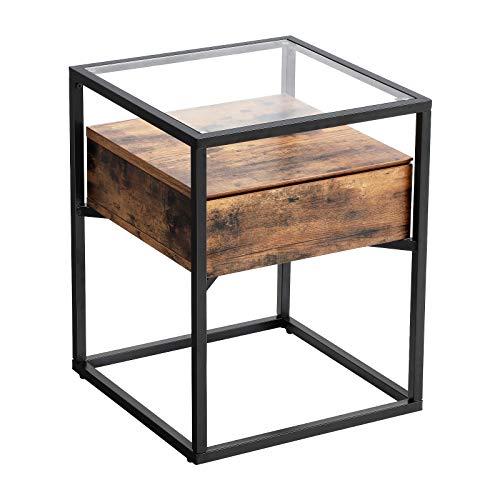 VASAGLE Nachttisch, Beistelltisch, Nachtkommode, Glastisch mit Schublade, Sofatisch,...