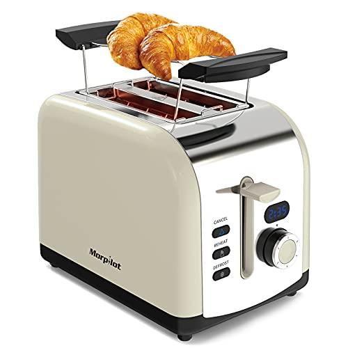 Morpilot 2 Scheiben Toaster Edelstahl Toaster mit Brötchenaufsatz, Breite Schlitze,...