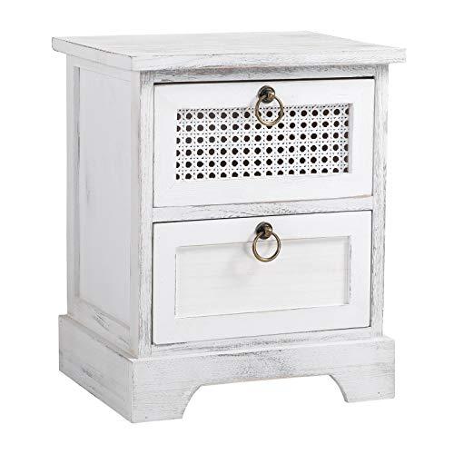 CARO-Möbel Nachttisch IRMA Nachtschrank Nachtkonsole mit 2 Schubladen weiß Shabby...
