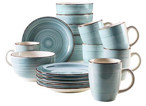 Mäser Frühstück-Service für 6 Personen im Vintage Look, handbemalte Keramik,...