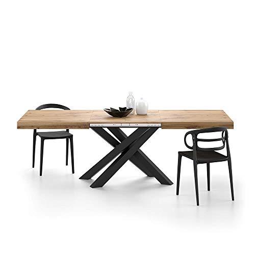 MOBILI FIVER, Ausziehbarer Tisch Emma 160, rustikale Eiche mit schwarzen X-Beinen,...