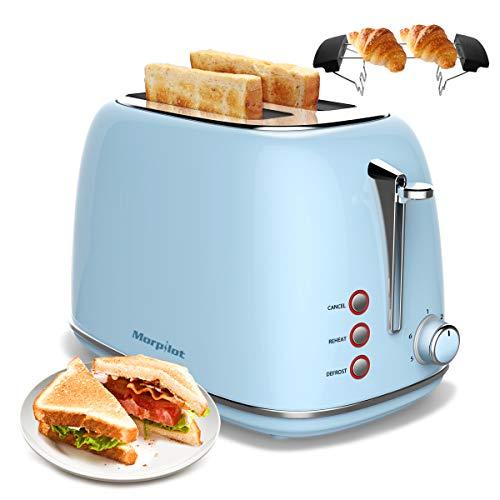 Toaster Edelstahl 2 Scheiben, morpilot Toaster mit Abnehmbarem Brötchenaufsatz und...
