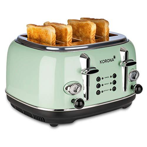 Korona 21675 Toaster, 4 Scheiben, Mint, Röstgrad-Anzeige, auftauen, rösten,...