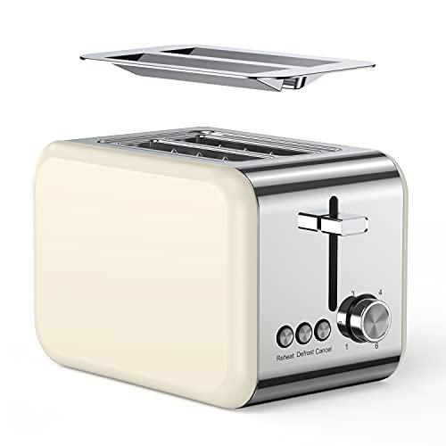 ZKIAH Toaster Edelstahl 2 Scheiben mit 6 Bräunungsstufen 850W, Retro Sandwichtoaster...