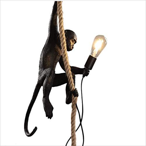 FGART Weinlese-Industrielle Art-AFFE-Lampe Affenlampe Hängend Mit Seilharz Schwarzer...