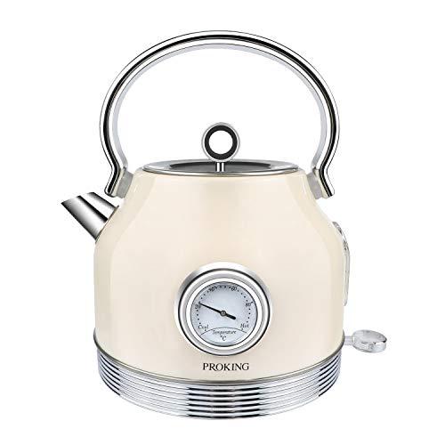 Wasserkocher Edelstahl Retro , Wasserkocher Mit Thermometer 1,7L, BPA frei, Wasser...
