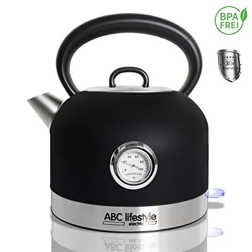 ABC Lifestyle - Wasserkocher Edelstahl Retro Design mit Temperaturanzeige - 1,7 Liter...