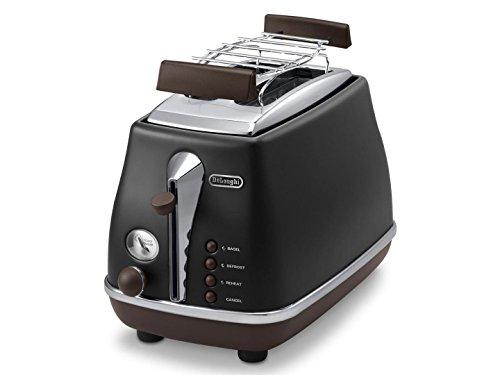 De'Longhi Toaster Icona Vintage CTOV2103.BK - 2-Schlitz-Toaster mit Brötchenaufsatz,...
