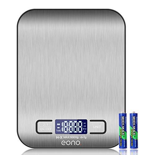 Amazon Brand – Eono Digitale Küchenwaage, Premium Edelstahl-Lebensmittelwaage,...