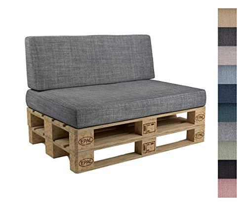 POKAR Palettenkissen mit abnehmbarem Bezug 2er Set: 1x Sitzkissen 120x80cm + 1x...