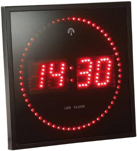 Lunartec Elektronische Wanduhr: LED-Funk-Wanduhr mit Sekunden-Lauflicht durch rote...
