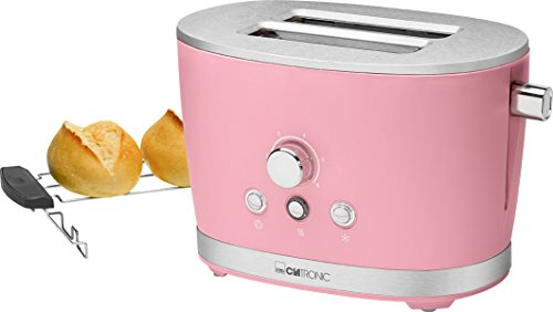 Clatronic TA 3690 Rock'n'Retro 2-Scheiben-Toaster mit Brötchenaufsatz,...