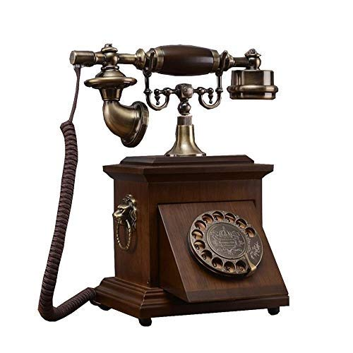 Ldlzjdh Festnetz Telefon-Telefon Alte Massivholz-Wählscheibe Antike Retro Dial...