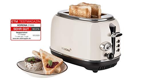 Korona 21666 Toaster, 2 Scheiben, Creme, Röstgrad-Anzeige, auftauen, rösten,...