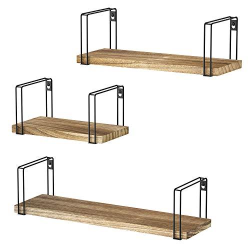 SRIWATANA Wandregal Hängeregal Holz 3er Set U-Form Schweberegal Wandboard Vintage,...