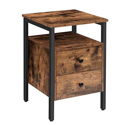 HOOBRO Nachttisch, Beistelltisch, Nachtschrank mit 2 Schublade, 40 x 40 x 61 cm,...
