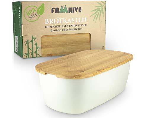 Brotbox Bambus - 2 in 1 Brotkasten Weiß mit Schneidebrett - sehr praktische Brot...