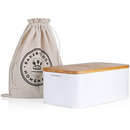 LARS NYSØM Brotkasten Crumb I Brotdose in weiß mit inkludiertem Brotsack aus Leinen...