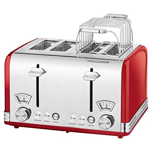 ProfiCook PC-TA 1194 Toaster 4-Scheiben-Toaster, Vintage-Look, Edelstahlgehäuse, 1x...