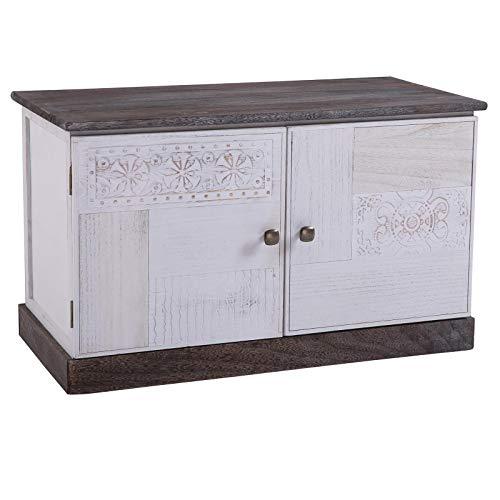 CARO-Möbel Schuhbank Juna Garderobenbank Schuhregal in braun/weiß lackiert im...