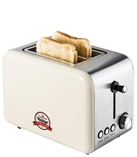 Bestron Toaster mit 2 Röstkammern, Krümelschublade und Röstaufsatz, Vintage, 1000...