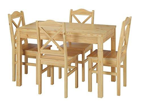 Rustikale Tischgruppe Esstisch und 4 Stühle Kiefer Massivholz 90.70-51 B-Set 20