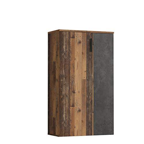 Forte Boots Schuhschrank klein mit 2 Türen, Holzwerkstoff, Old Wood Vintage Dekor +...