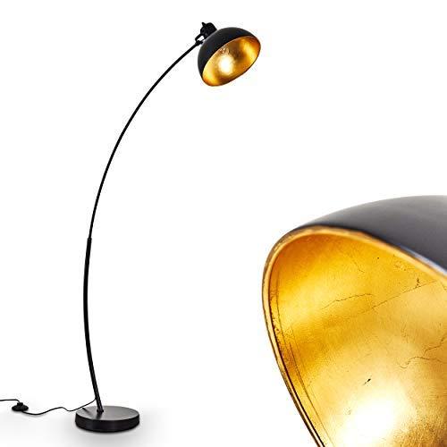 Stehlampe Parola, Vintage Stehleuchte mit Lampenschirm in Gold/Schwarz aus Metall,...