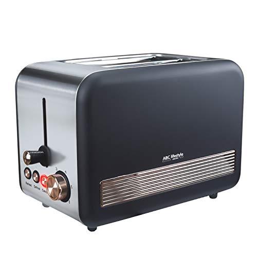Retro-Design Toaster mit Krümelschublade, ABC Lifestyle Edelstahl 2-Slice-Slot...