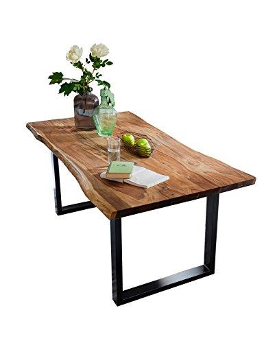 SAM Esszimmertisch mit Baumkante, massives Akazienholz, Nussbaumfarben / schwarzes...