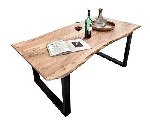 SAM Stilvoller Esszimmertisch Quentin 180x90 cm aus Akazie-Holz, Tisch mit schwarz...