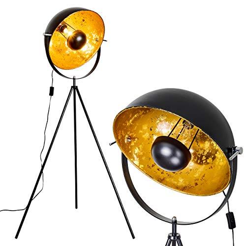 Stehlampe Saturn, Vintage Stehleuchte mit Lampenschirm in Gold/Schwarz aus Metall, Ø...